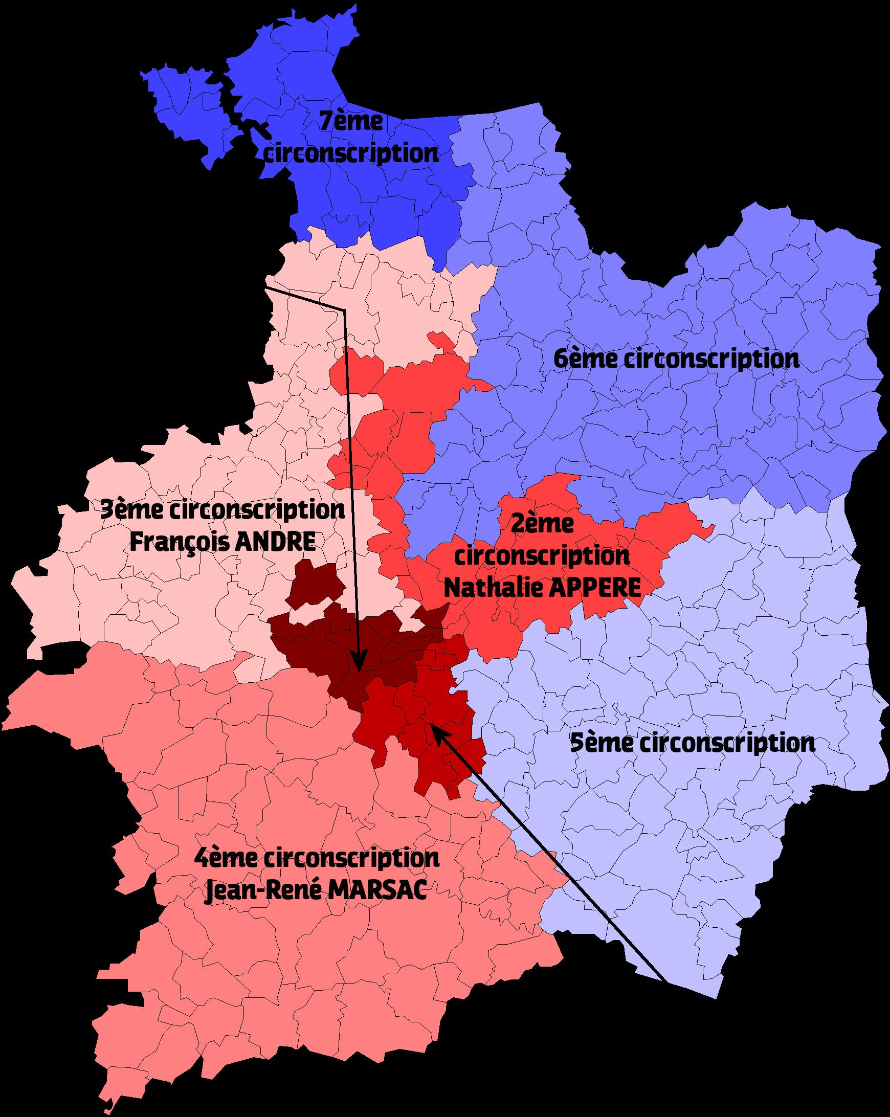 Carte des cirsconscriptions législatives en Ille-et-Vilaine