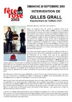 Discours de Gilles GRALL