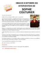 Discours du MJS : Sophie COUTURIER